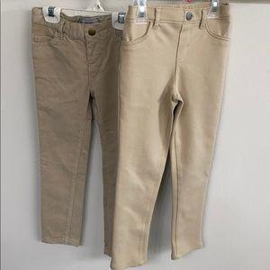 Lot of 2 beige toddler pants
